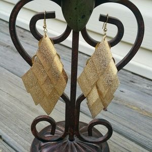 Brushed gold color metal dangle earrings